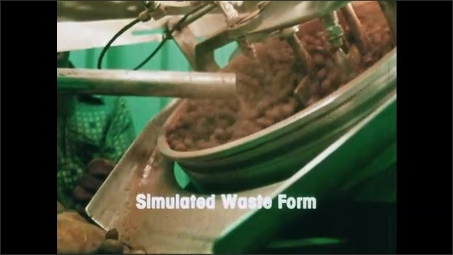 1980s: UNITED STATES: simulated waste form title. Man handles waste product. Balls inside machine.