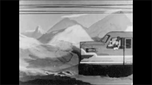 1950s: Stereotypical animated chinese character runs and  carries kerosene cans on yoke. Train speeds through the countryside.