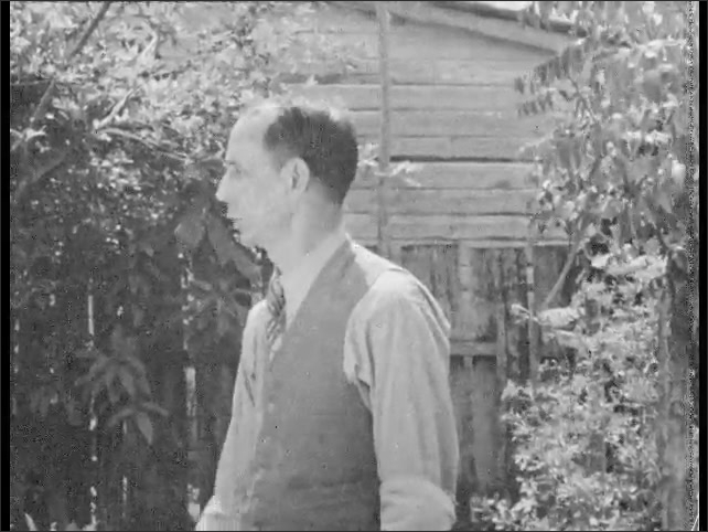 Cuba 1940s: Pan across girls sewing. Man and boys in garden. Close up of man. Boys working in garden.