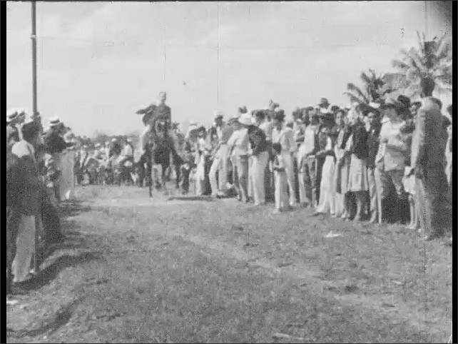 Cuba 1940s: Men posed with cattle. Men ride horses past crowd.