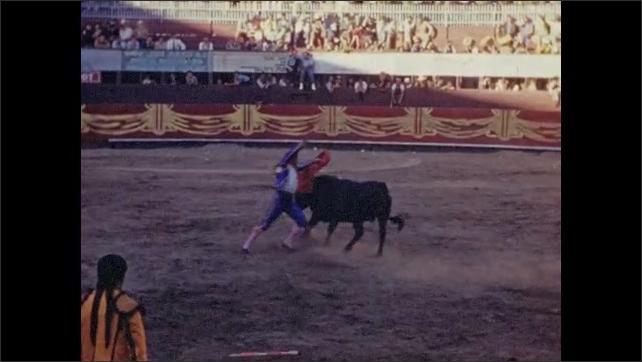1940s: Matador taunts bull with cape.