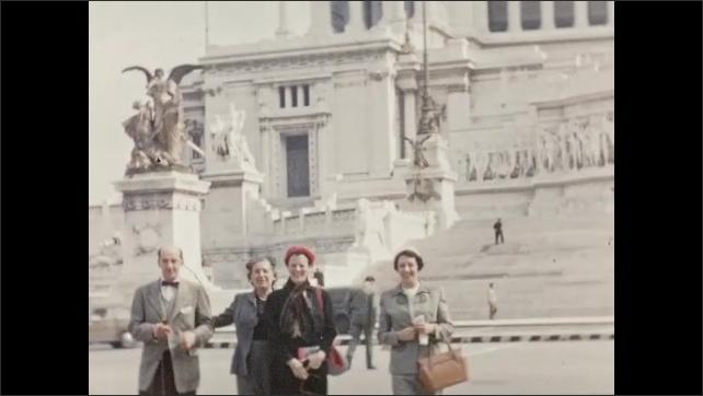 1940s: EUROPE: ITALY: Ancient Roman Ruins. Roman Ruins. Palatine Hill. View through columns of Roman ruins.