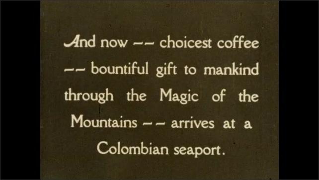 1930s: COLUMBIA: SOUTH AMERICA: men load coffee bean sacks onto shop. Coffee bean export. Man runs with wheelbarrow by dock.