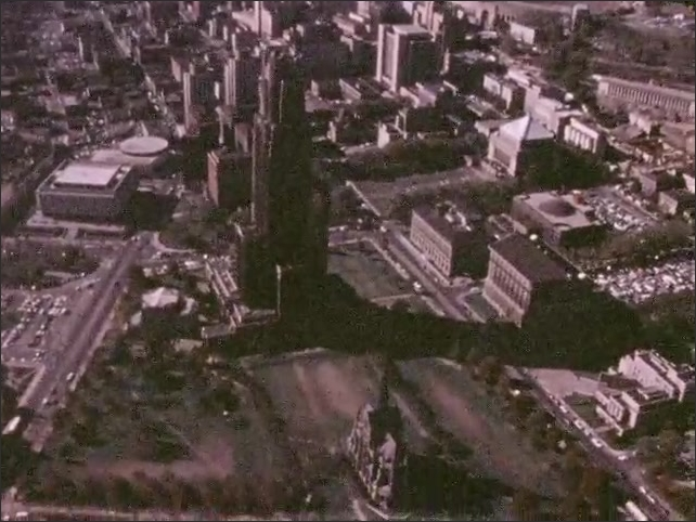 PITTSBURGH 1970s: Aerial view of Pittsburgh, University of Pittsburgh campus.