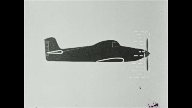 1950s: Private prop-plane takes off from runway. The word Lift appears. Animation of plane with propellers spinning.