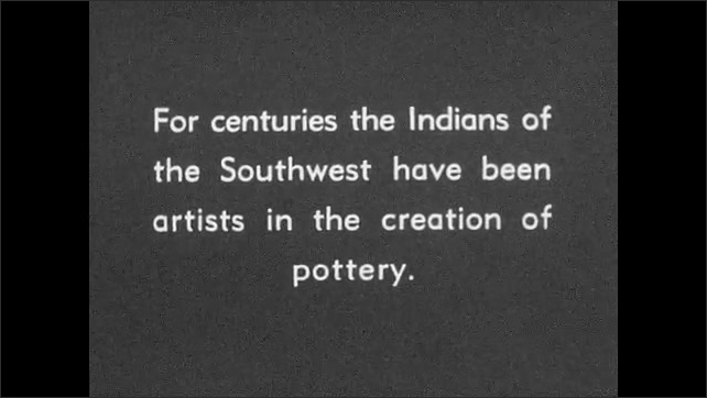 """1930s: Clay beads on a backing board. Intertitle """"For centuries the Indians of the Southwest have been artists in the creation of pottery"""". Painted bowl is displayed."""