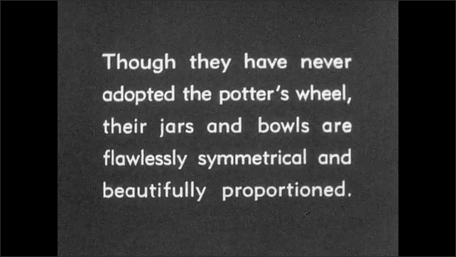 """1930s: Intertitle """"This...bowl was broken when its owner died [and] buried with him..."""".  Bowl with hole. Intertitle no potter wheel and yet proportioned and flawless. Painted bowl."""