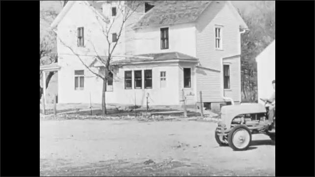 1960s: Man raises hand and speaks.  Cornfield.  Farmer drives tractor.  Man works in field.
