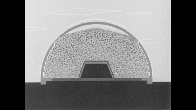 1960s: UNITED STATES: air flow through tunnel. Men look at model of corn drying building. Animated air flow in building