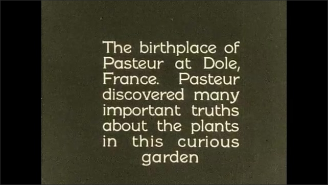 1930s: title card reads these plants we call bacteria or germs. long hook-shaped cells appear in circle. words about Louis Pasteur and curious garden. people walk near apartment building in France.