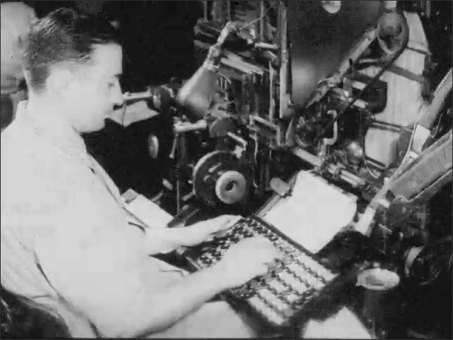 1940s: Copy is delivered to linotype operator who keys it in. Line of linotype operators working.
