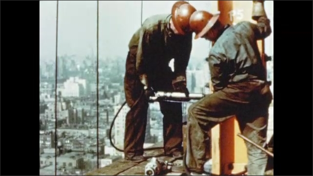 1950s: Hand strikes hammer against rivets. Men attach beams to column with air hammer. Man tosses hot rivet. Hands uses tongs to remove red hot rivet from bucket.