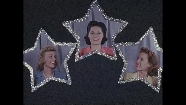 1940s: Women look through star shaped holes.  Woman sits in chair.  Woman picks up photo of man.
