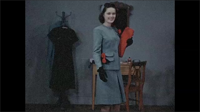 1940s: Girls talk in dressing room.  Young woman rides away on bicycle.  Woman models outfit.  Girl salutes.