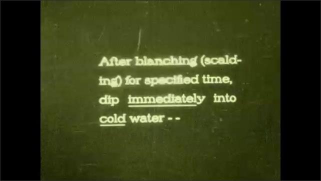1930s: Woman at stove. Woman looks at clock. Woman sets clock down, iris in. Intertitle. Woman takes bag from pot, puts bag in bowl.