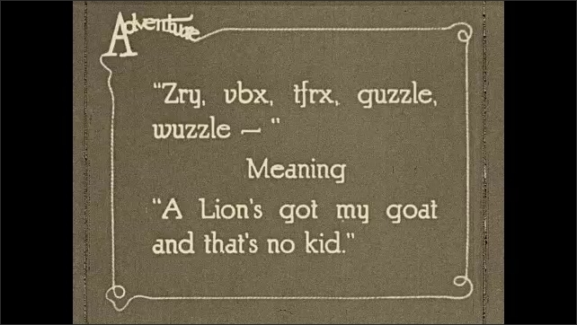 1930s: A lion eats a goat in a desert, surrounded by the rest of the herd. Two goatherds jump up and run away, waving their arms. One gestures to a man standing by an airplane, who follows him.