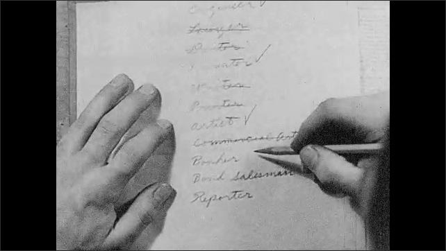 1930s: UNITED STATES: hand hovers over list of careers. Finger taps paper. Banker word on list. Money bags in bank.