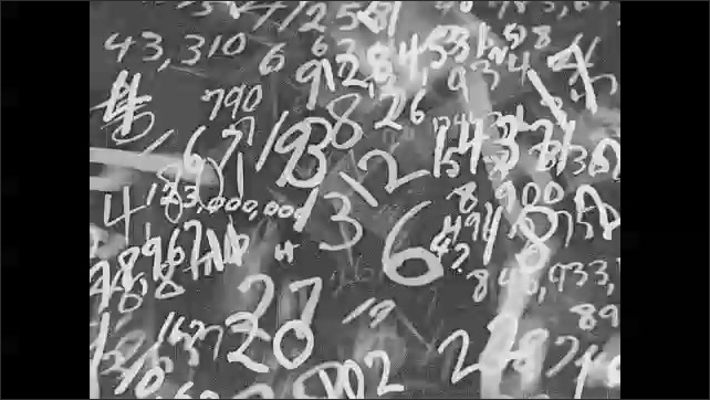 1930s: UNITED STATES: chalk numbers swirl on blackboard. Numbers everywhere. People swim outdoors. Boy shakes head. Boy fills in form