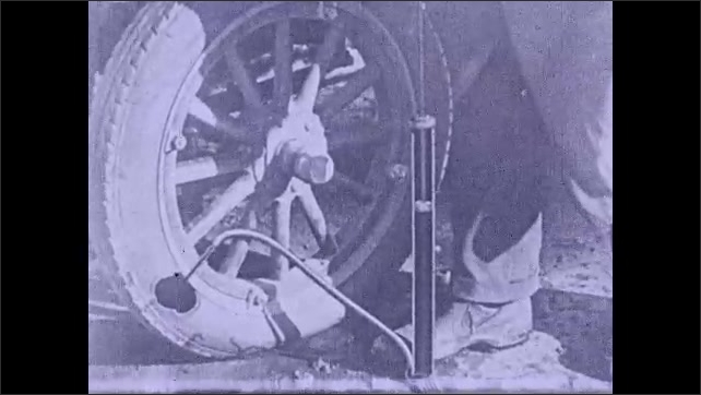 1930s: Several labels appear with text to explain step by step how to pump air into a tire, hands pump air into the tire, animated particles of air illustrate the process inside the pump.