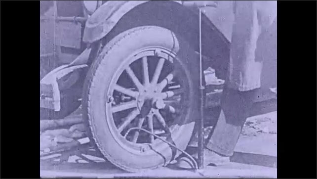 1930s: Hands pump air into tire. Intertitle ????ompressing air gives it a spring???? Man pumps the tire of an old car. Man uses an air compressor to pump the car????s tire.