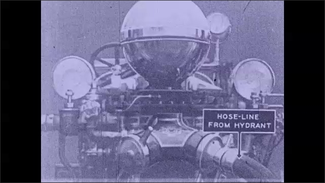 1930s: Scheme of an old hose engine from a fire truck, labels ????ir pressure dome????and ????ose-line from hydrant????appear, the hose turns into a black shape, label ????umps????appear.