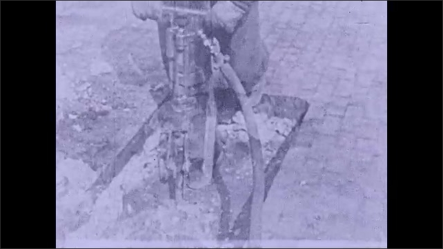 1930s: A man drills the ground with a hydraulic drilling machine. A man digs the ground with an automatic shovel.