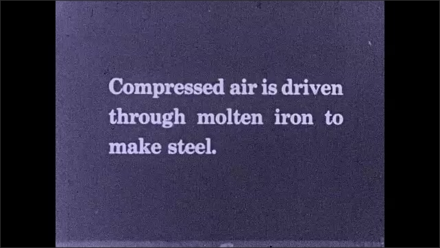 1930s: A blacksmith takes iron from the fire with tongs and hammers it. Intertitle. Furnace pours melted metal. Flames and smoke come out from a furnace that rotates inside a factory.