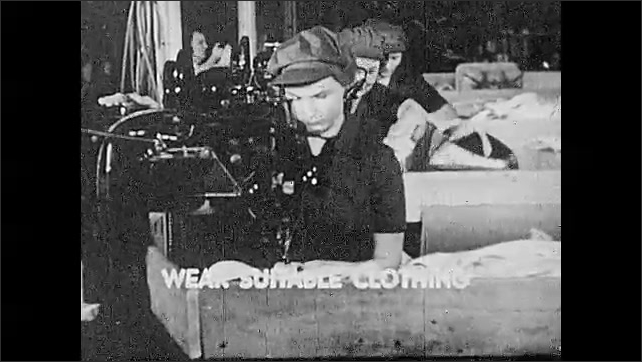 """1930s: Football players play on field. Women sew in factory with subtitle """"Wear suitable clothing""""."""