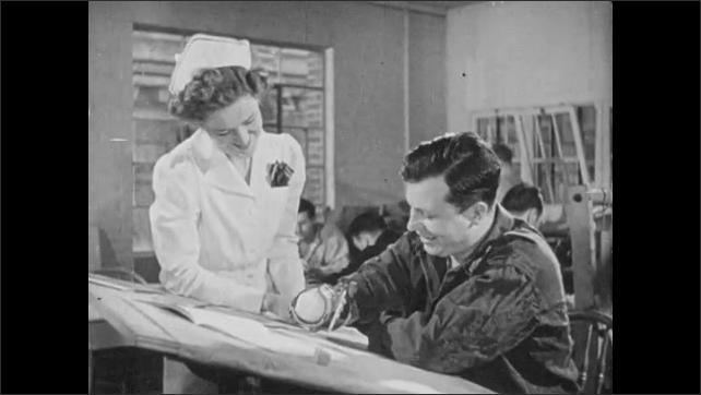 1940s: Man with amputated hand writes with pencil using prosthetic wrist cuff. Man looks up and smiles at nurse. Man uses prosthetic cuffs to type on typewriter, nurse watches.