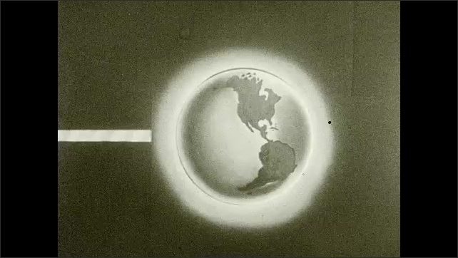 1930s: Lines appear on animated illustration of Earth. Lines appear at North Pole and equator of Earth. Title placard with outline.
