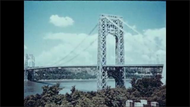 1940s: UNITED STATES: buildings in New York. Bridge across river in New York. Ocean liner on water. Train speeds along tracks. Plane in flight.