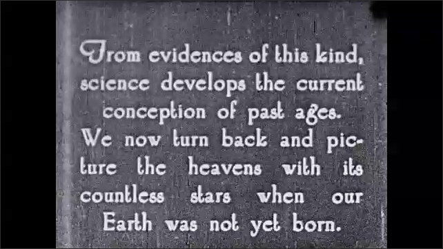 """1930s: Roman aqueduct. Intertitle """"From evidences of this kind, science develops conception of past ages. We now turn back, picture heavens with its countless stars when our Earth was not born""""."""