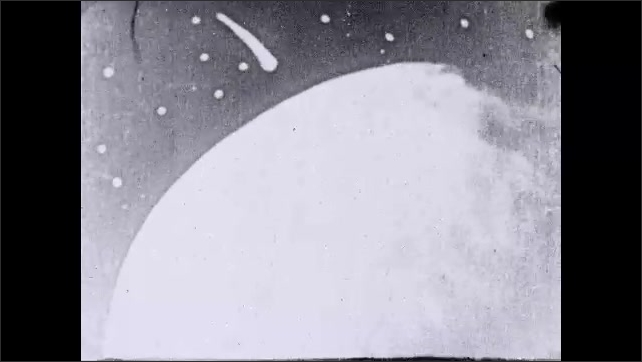 1930s: Intertitle ????ebulous dust rushes in as fiery meteoric rain, forming a brilliant halo???? Circle. Intertitle. Animation of celestial body that collides with nebulous dust. Intertitle. Magma.