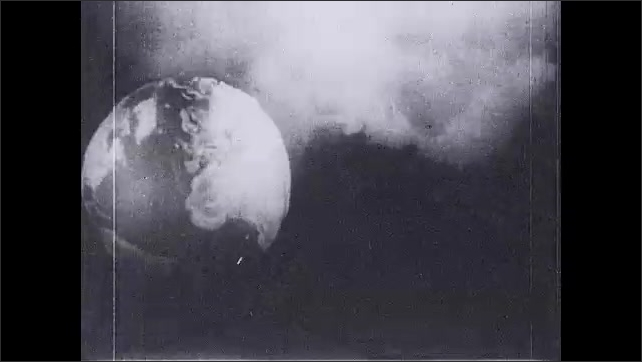 1930s: title card reads quote from St. Luke 21 26. Fires spring up on Earth. flames burn the land. smoke pours from island. men and women panic as fire falls from sky. steam springs from mountain.