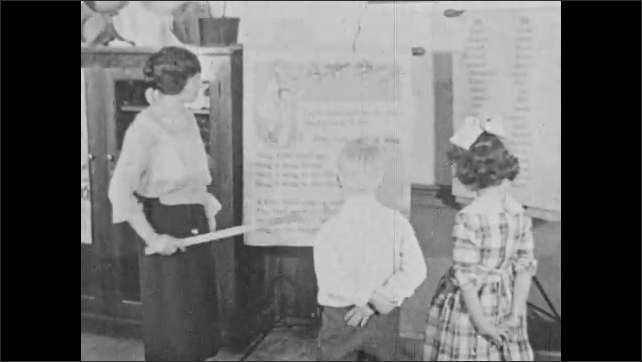 1930s: Title card. Woman shows lines of text to boy and girl. Girl reads text out loud. Woman points to text on paper. Boy reads text out loud. Woman pointing to text.