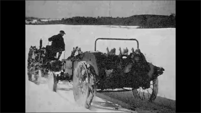 1940s: Men load bundles onto boat.  Farmer drives tractor through the snow.  Tractor harvests crop.