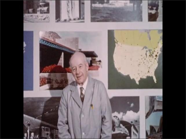 1950s: Barnacles on concrete pier. Truck caravan on highway. Men adjust instruments on truck. Man in lab coat stands before wall display and speaks.
