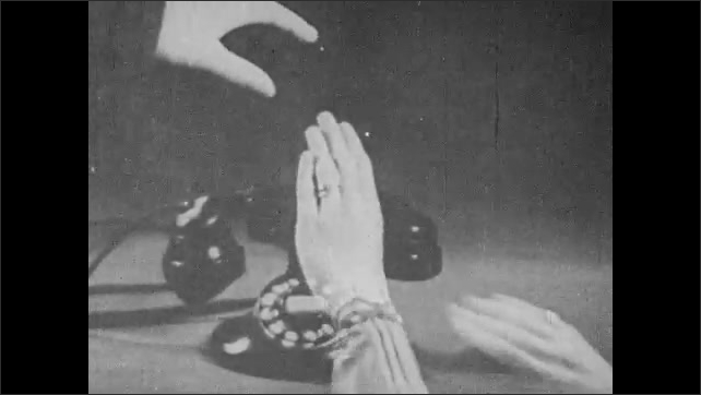 1930s: Woman working at switchboard. Man in power station. Man opens electrical panel. Double exposure, hands reach for phone. Iris out, tracking shot of radio towers through port hole.