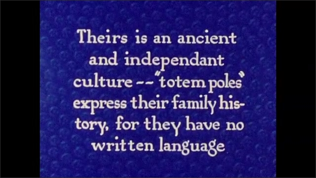 1940s: Fish filets hang from ceiling of building. Intertitle card. Horse stands next to large totem pole. Carved face.