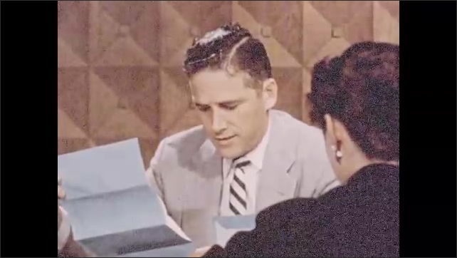 1950s: airplanes fly over airport and taxi on runway. man in suit sits at desk and reads paper to woman. river flows past Pittsburgh buildings. office skyscraper rises up.
