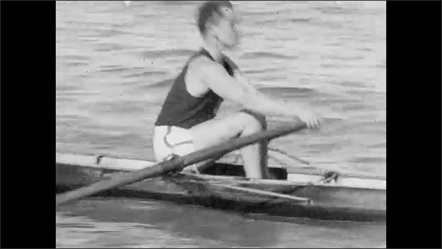 1930s: Crew rowers row through the water in singles boats. The Pasadena Athletic Club world record winning girls' relay team stands together.