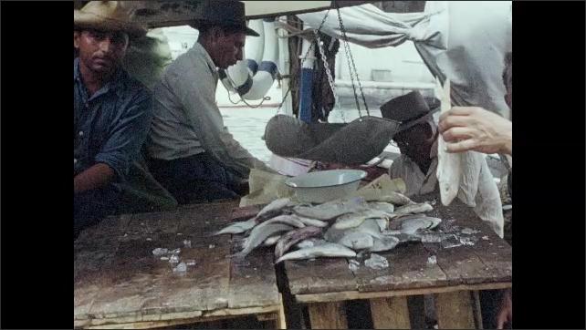 1950s: Men at fish stall, man holds up fish, talks.