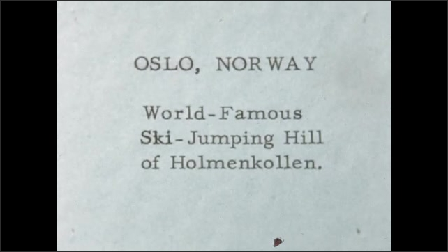 1950s: EUROPE: NORWAY: Lady in Bergen street. Lady looks at camera. Oslo, Norway. World famous ski jumping hill of Holmenkollen. Ski jump and water.