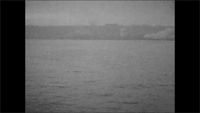 1940s: Pan across body of water.