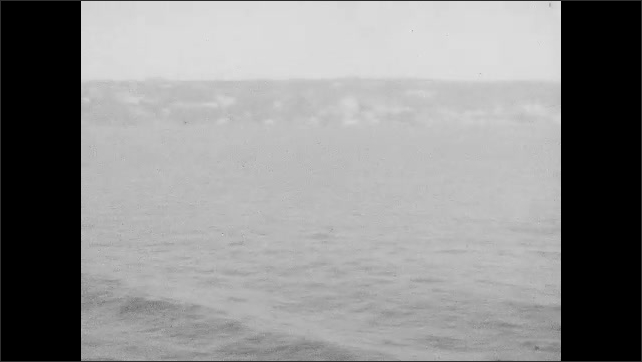 1940s: Views of islands, coastline from ships.