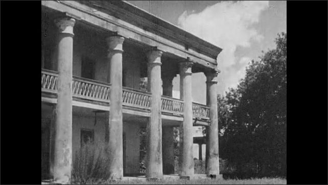 1930s: UNITED STATES: house in need of renovation. Pigeon loft on Uncle Sam's Plantation. Mansion on flood plain.