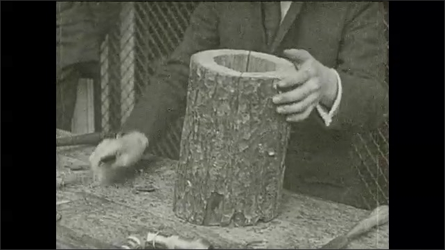 1930s: Hands show one piece of tree trunk with hole, put the two pieces up and nail them together, cover it with a circular piece of wood and nail it to the tree trunk piece. Intertitle.