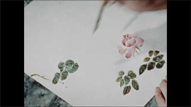 1940s: hand uses pointy paintbrush to paint branches and stems between green leaves and white and orange petals on flower in center of art paper.