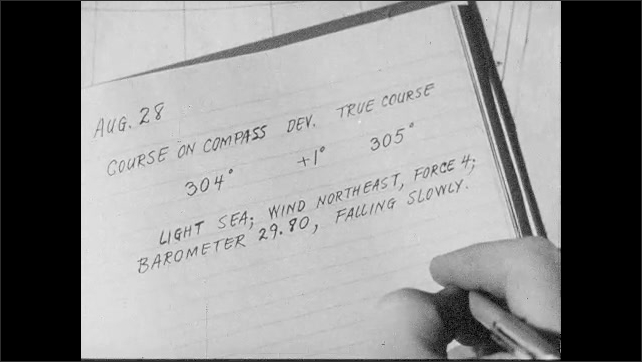 1950s: Handwriting of weather entry in ship log. Course settings and weather details including barometer reading, slowly falling.