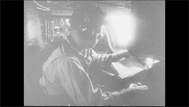 1950s: Pilot grips yoke of plane and struggles to control it. Stormy ocean below plane. Weather report transmitted from plane. Plane enters calm or eye of the storm.